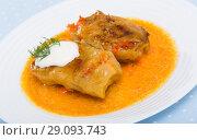 Купить «Cabbage rolls with chopped meat», фото № 29093743, снято 18 сентября 2018 г. (c) Яков Филимонов / Фотобанк Лори