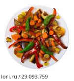 Купить «Image of plaque with vegetables in plate», фото № 29093759, снято 20 февраля 2020 г. (c) Яков Филимонов / Фотобанк Лори