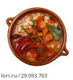 Купить «Top view of Bulgarian bean soup bob chorba», фото № 29093763, снято 15 декабря 2018 г. (c) Яков Филимонов / Фотобанк Лори