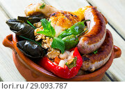 Купить «Kapama – sausages, cabbage rolls, dolma», фото № 29093787, снято 18 сентября 2018 г. (c) Яков Филимонов / Фотобанк Лори