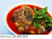 Купить «Tomato soup with lamb», фото № 29093803, снято 16 августа 2018 г. (c) Яков Филимонов / Фотобанк Лори