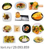 Купить «Meatless dishes isolated on white background», фото № 29093859, снято 25 апреля 2019 г. (c) Яков Филимонов / Фотобанк Лори