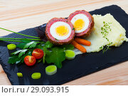 Купить «Scotch egg with pureed potatoes, carrots, tomatoes, greens», фото № 29093915, снято 25 сентября 2018 г. (c) Яков Филимонов / Фотобанк Лори