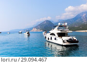 Купить «Luxury yachts in the Adriatic Sea. Luxury yacht on turquoise water between the islands», фото № 29094467, снято 25 июня 2017 г. (c) Евгений Ткачёв / Фотобанк Лори