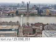 Millennium Bridge, Tate Modern, Cityscape from the gallery of St Paul's Cathedral, London, England, UK. Стоковое фото, фотограф Ivan Vdovin / age Fotostock / Фотобанк Лори
