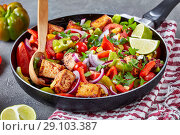 Купить «vibrant,veggie Mexican dish in a cast-iron pan», фото № 29103387, снято 22 августа 2018 г. (c) Oksana Zh / Фотобанк Лори