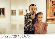 Купить «friendly father and daughter regarding paintings in museum», фото № 29103675, снято 22 сентября 2018 г. (c) Яков Филимонов / Фотобанк Лори