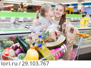 Купить «Two girls are standing with cart with products in the supermarket.», фото № 29103767, снято 4 апреля 2018 г. (c) Яков Филимонов / Фотобанк Лори