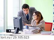 Купить «Two colleagues working in the office», фото № 29105023, снято 11 июня 2018 г. (c) Elnur / Фотобанк Лори