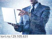 Купить «Businessman with laptop in finance and banking concept», фото № 29105631, снято 5 августа 2020 г. (c) Elnur / Фотобанк Лори