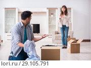 Купить «Woman evicting man from house during family conflict», фото № 29105791, снято 23 марта 2018 г. (c) Elnur / Фотобанк Лори
