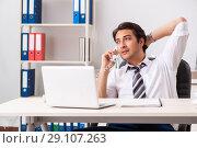 Купить «Young call center operator speaking on phone», фото № 29107263, снято 3 июля 2018 г. (c) Elnur / Фотобанк Лори