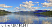 Купить «Panorama mountain lakes on the Putorana plateau», фото № 29110911, снято 17 января 2019 г. (c) Сергей Дрозд / Фотобанк Лори