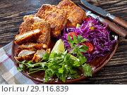 Купить «close up of breaded pork fillet, rustic style», фото № 29116839, снято 27 августа 2018 г. (c) Oksana Zh / Фотобанк Лори