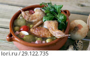 Купить «Solyanka with quails, ham, olives, quail eggs and pickled cucumbers on quail broth», видеоролик № 29122735, снято 27 августа 2018 г. (c) Яков Филимонов / Фотобанк Лори
