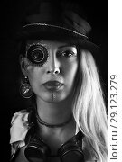 Купить «Steampunk girl portrait on black. Monocular lens», фото № 29123279, снято 13 апреля 2017 г. (c) katalinks / Фотобанк Лори