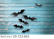 Купить «black bats over blue shabby boards background», фото № 29123663, снято 6 июля 2017 г. (c) Syda Productions / Фотобанк Лори