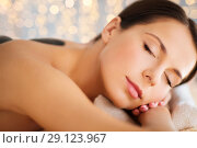 Купить «beautiful woman having hot stone therapy at spa», фото № 29123967, снято 25 июля 2013 г. (c) Syda Productions / Фотобанк Лори