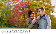 Купить «couple listens music by smartphone in autumn park», фото № 29123991, снято 19 марта 2015 г. (c) Syda Productions / Фотобанк Лори