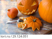 Купить «jack-o-lantern or carved halloween pumpkin», фото № 29124051, снято 15 сентября 2017 г. (c) Syda Productions / Фотобанк Лори