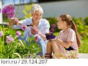 Купить «grandmother and girl planting flowers at garden», фото № 29124207, снято 3 июня 2018 г. (c) Syda Productions / Фотобанк Лори