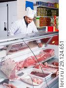 Купить «Portrait of male butcher in kosher section at supermarket», фото № 29124651, снято 15 октября 2016 г. (c) Яков Филимонов / Фотобанк Лори
