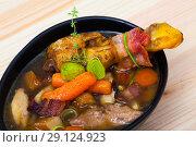 Купить «Thick chiken soup with smoked bacon», фото № 29124923, снято 21 сентября 2019 г. (c) Яков Филимонов / Фотобанк Лори