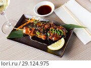Купить «japanise dish yakitori», фото № 29124975, снято 19 декабря 2018 г. (c) Яков Филимонов / Фотобанк Лори