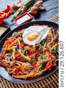 Купить «korean japchae or chapchae vertical, top view», фото № 29126607, снято 29 августа 2018 г. (c) Oksana Zh / Фотобанк Лори
