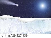 Купить «Moon and comet over night winter forest. Night sky with stars. Winter night landscape. Spruce forest in winder», фото № 29127139, снято 20 июля 2013 г. (c) Евгений Ткачёв / Фотобанк Лори