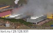 Купить «Мутновская геотермальная электростанция на Камчатке», видеоролик № 29128931, снято 25 сентября 2018 г. (c) А. А. Пирагис / Фотобанк Лори
