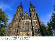 Купить «Prague, Czech Republic. The Basilica of St. Peter and Paul in Vysehrad», фото № 29129927, снято 19 сентября 2018 г. (c) Яна Королёва / Фотобанк Лори