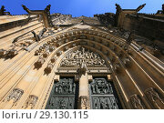 Купить «Prague, Czech Republic, view of St. Vitus Gothic Catholic Cathedral in Prague Castle», фото № 29130115, снято 20 сентября 2018 г. (c) Яна Королёва / Фотобанк Лори