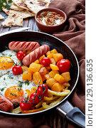 Купить «Mediterranean breakfast with baba ganoush dip», фото № 29136635, снято 31 августа 2018 г. (c) Oksana Zh / Фотобанк Лори