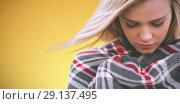 Купить «Composite image of close up of a woman wraped in a blanket», фото № 29137495, снято 18 декабря 2018 г. (c) Wavebreak Media / Фотобанк Лори