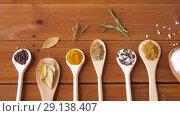 Купить «spoons with different spices on wooden table», видеоролик № 29138407, снято 20 сентября 2018 г. (c) Syda Productions / Фотобанк Лори