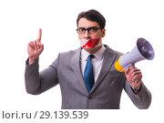 Купить «The funny businessman with loudspeaker isolated on white», фото № 29139539, снято 27 марта 2017 г. (c) Elnur / Фотобанк Лори