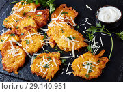 Купить «Tasty crispy fritters from pumpkin with saur cream», фото № 29140951, снято 1 сентября 2018 г. (c) Oksana Zh / Фотобанк Лори