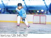 Купить «Happy girl passing the puck during hockey game», фото № 29141767, снято 1 декабря 2017 г. (c) Сергей Новиков / Фотобанк Лори