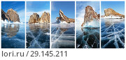 Купить «Lake Baikal in winter. A collage of the main natural Landmarks of the Olkhon Island and the Small Sea: the famous cliffs of Deva (Khoboy), Shamanka (Burhan), Dragon (Ogoy), Three Brothers (Sagan-Khushun) and Kobylia Golova (Horin-Irgy)», фото № 29145211, снято 18 октября 2018 г. (c) Виктория Катьянова / Фотобанк Лори