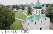 Купить «Aerial view of Spaso-Preobrazhensky cathedral in Pereslavl-Zalessky, Russia», видеоролик № 29147283, снято 2 июля 2018 г. (c) Яков Филимонов / Фотобанк Лори