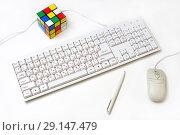 Купить «Белая клавиатура, компьютерная мышка и ручка», фото № 29147479, снято 17 февраля 2018 г. (c) Юрий Морозов / Фотобанк Лори