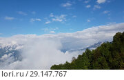 Купить «Panorama of Caucasian mountains in Russia», видеоролик № 29147767, снято 27 сентября 2018 г. (c) Володина Ольга / Фотобанк Лори