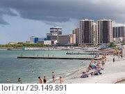 Купить «Вид на центральный пляж Новороссийска», эксклюзивное фото № 29149891, снято 21 июля 2018 г. (c) Алексей Шматков / Фотобанк Лори