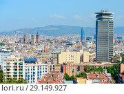 Купить «Красивый вид сверху на Барселону, Испания», фото № 29149927, снято 13 сентября 2018 г. (c) Ольга Коцюба / Фотобанк Лори