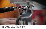 Купить «Close up of espresso pouring from coffee machine.», видеоролик № 29150619, снято 17 октября 2018 г. (c) Константин Шишкин / Фотобанк Лори