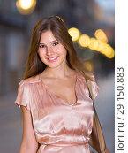 Купить «close-up portrait of smiling slim adult girl in sexy evening apparel», фото № 29150883, снято 26 августа 2017 г. (c) Яков Филимонов / Фотобанк Лори