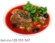 Купить «Meat tomato soup with mutton», фото № 29151167, снято 16 августа 2018 г. (c) Яков Филимонов / Фотобанк Лори