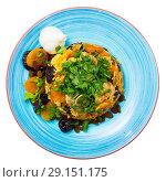 Купить «Top view of pilaf from lamb with dried apricots, prunes», фото № 29151175, снято 16 августа 2018 г. (c) Яков Филимонов / Фотобанк Лори