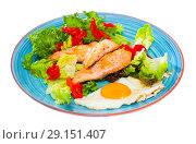 Купить «Low-calorie breakfast with roasted trout», фото № 29151407, снято 15 октября 2018 г. (c) Яков Филимонов / Фотобанк Лори